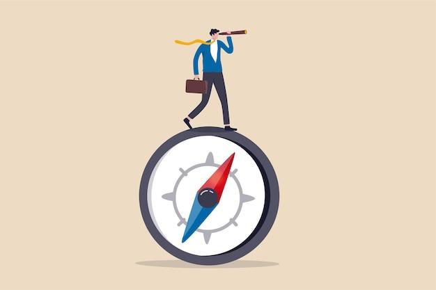 Direzione aziendale con visionario di leadership, obiettivo aziendale e concetto di prospettiva