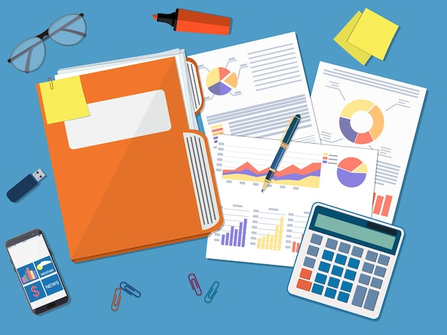 Concetto di documento aziendale. cartella documenti, relazione finanziaria con grafici, calcolatrice e penna.