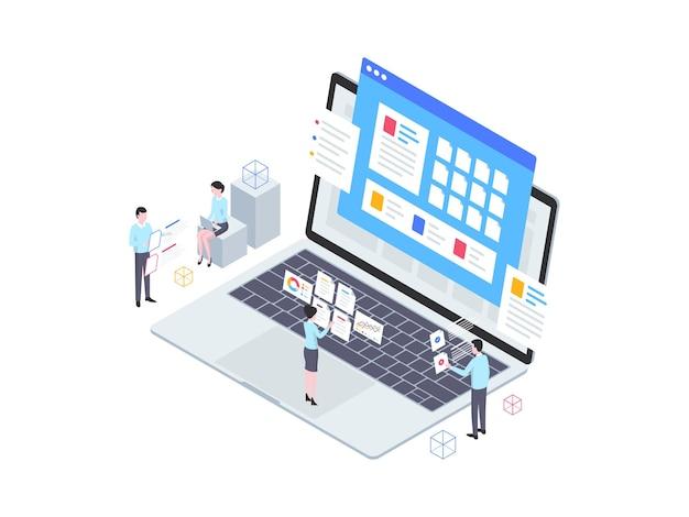 Illustrazione isometrica di documentazione aziendale. adatto per app mobili, siti web, banner, diagrammi, infografiche e altre risorse grafiche.
