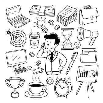 Insieme di doodle di affari