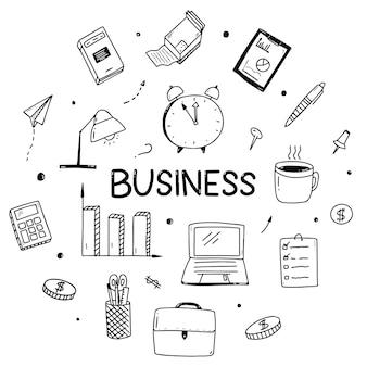 Schizzo di doodle di affari dei contatti di marketing. elementi delle icone di affari.