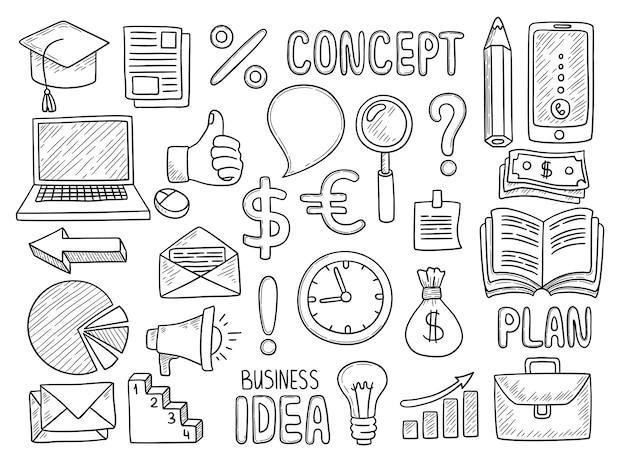 Doodles aziendali. oggetti creativi per il lavoro soldi ufficio computer nota penna strumenti di istruzione manager elementi raccolta disegnata a mano di vettore.