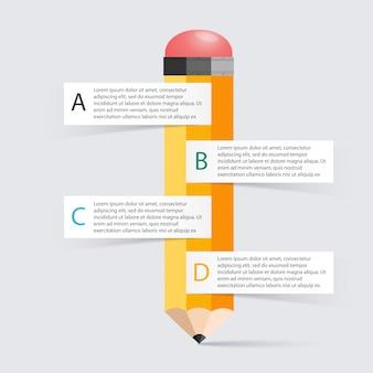 Opzione di infographics della scala della matita di istruzione di affari.