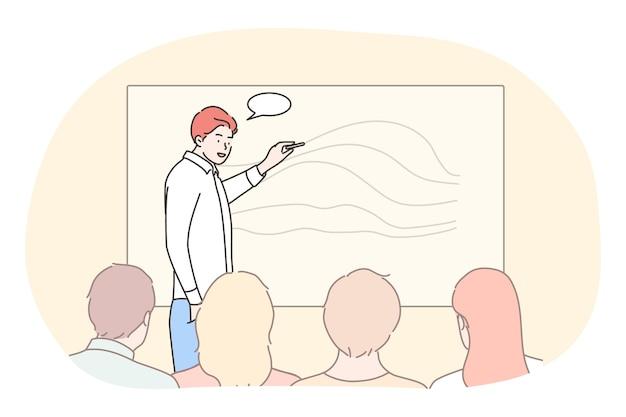 Affari, istruzione, presentazione, riunione, conferenza, concetto di formazione. responsabile allenatore uomo d'affari