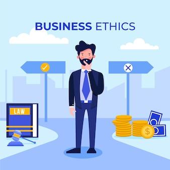 Illustrazione di concetto di etica aziendale con uomo d'affari