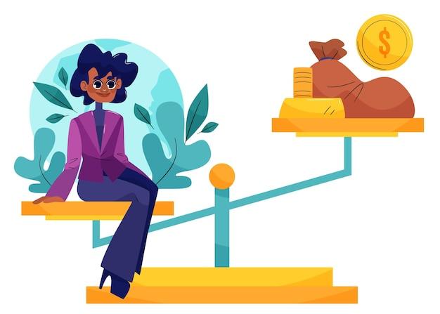 Illustrazione di concetto di etica aziendale con imprenditrice ed equilibrio