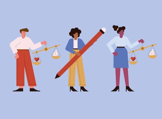 Etica degli affari personaggi di tre persone