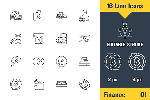 Set di icone di affari, finanza, contanti. icona linea sottile - illustrazione vettoriale piatto di contorno. pittogramma di tratto modificabile. concetto di grafica di qualità premium per web, logo, branding, ui, ux design, infografica.