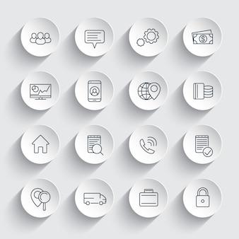 Icone di affari, finanza, commercio, linea aziendale su forme rotonde 3d, pittogrammi di affari,
