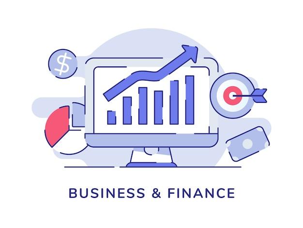 Concetto di affari e finanza con barra di crescita con stile contorno piatto