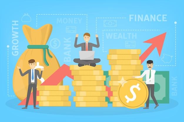 Concetto di crescita delle finanze aziendali. idea di aumento di denaro. investimenti e reddito. utile di bilancio. illustrazione vettoriale piatto