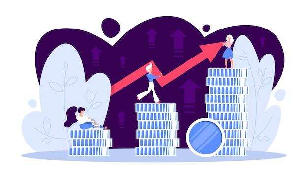 Concetto di crescita delle finanze aziendali. idea di aumento di denaro