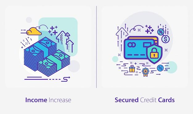 Icone di affari e finanza, aumento del reddito, carte di credito garantite