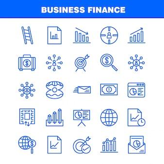 Pacchetto di icone di linea di finanza aziendale per progettisti e sviluppatori. icone di borsa, valigetta, affari, moda, finanza, affari, occhio, missione,