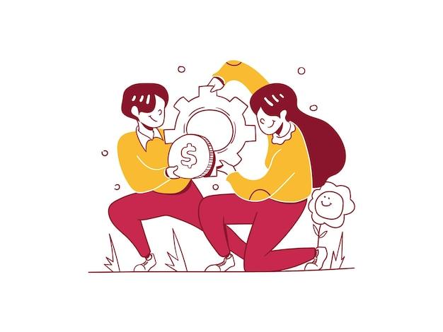 Finanza aziendale uomo donne impostazione gestione del denaro strategia di marcia disegnata a mano in stile illustration