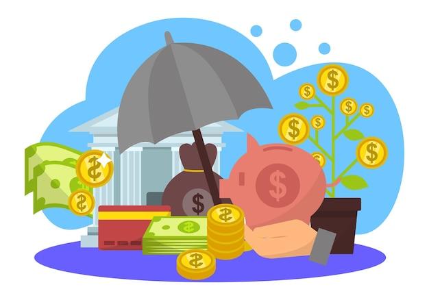 Protezione delle finanze aziendali, illustrazione vettoriale. proteggi il denaro, il concetto di investimento bancario e la ricchezza finanziaria sicura. contanti piatti, monete d'oro
