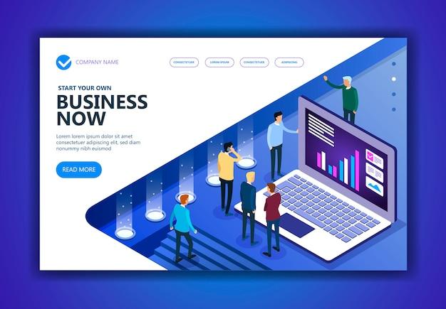 Concetto isometrico di vettore di affari e finanza, persone isometriche di marketing che lavorano insieme e sviluppano una strategia aziendale di successo, illustrazione vettoriale