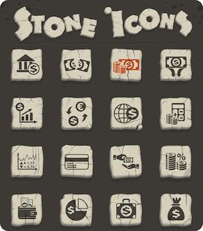 Icone web di finanza aziendale su blocchi di pietra nello stile dell'età della pietra