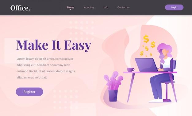 Illustrazione di vettore del sito web di finanza e di affari