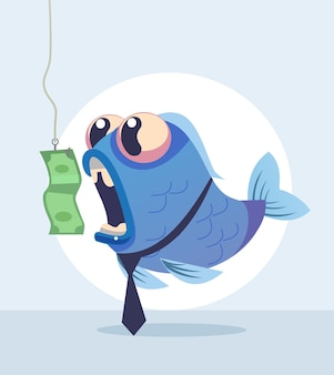 Illustrazione del fumetto del carattere di pesce di affari
