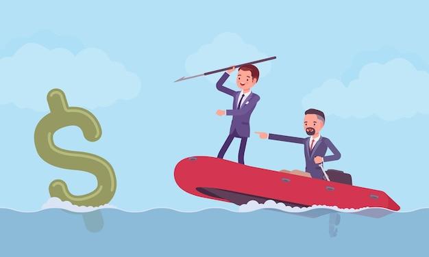 Pesca d'affari per soldi con arpione