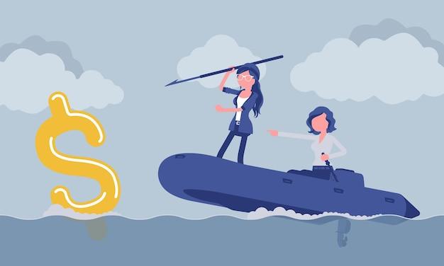Pesca d'affari per soldi con l'arpione