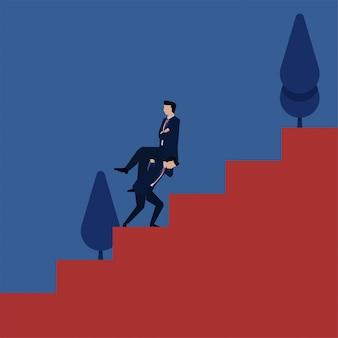 L'uomo d'affari piano di concetto di vettore di affari porta il capo a salire le scale.
