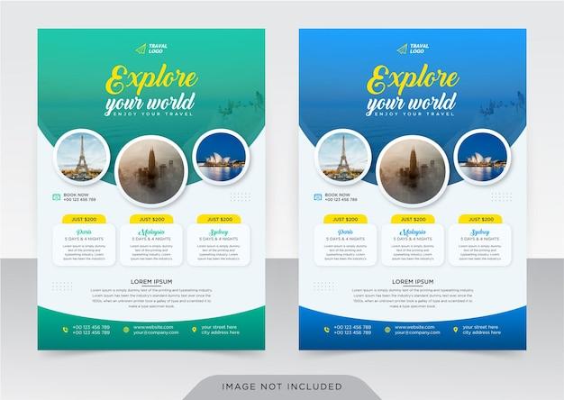 Volantino aziendale e modello di copertina per agenzia di viaggi