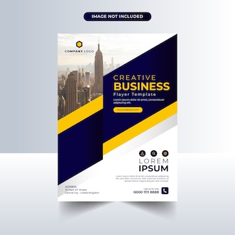 Modello di volantino aziendale con design blu e giallo