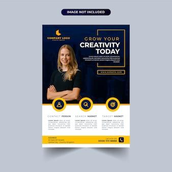 Modello di volantino aziendale con design giallo