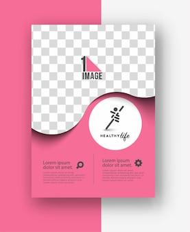 Volantino aziendale con spazio di immagine e logo.