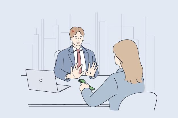 Frodi aziendali, tangenti e illustrazione di concetto di affari illegali
