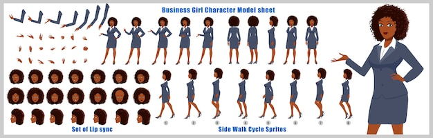 Ragazza di affari scheda del modello del personaggio con animazioni del ciclo di camminata e sincronizzazione labiale