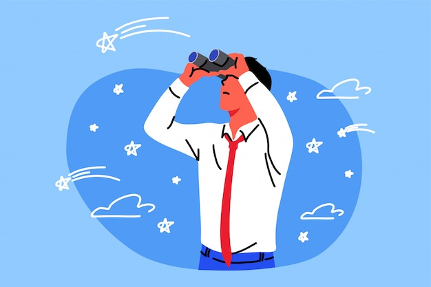 Affari, obiettivo, ricerca, immaginazione, osservazione, concetto di obiettivo