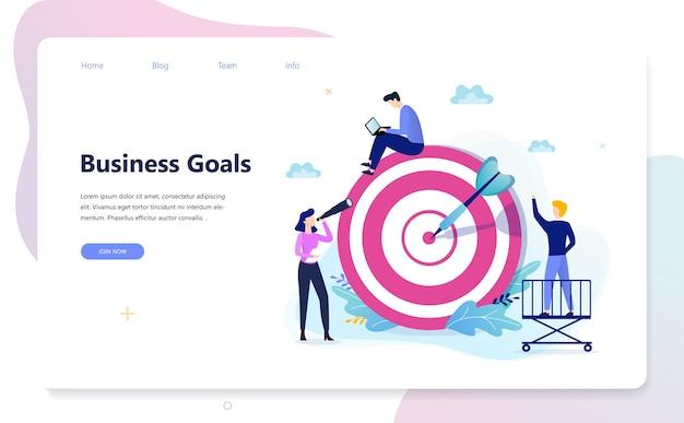 Concetto di banner web obiettivo aziendale. una freccia su un bersaglio
