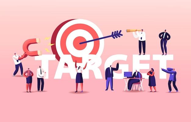 Illustrazione di raggiungimento degli obiettivi aziendali. team di personaggi di persone di affari che lavora intorno all'obiettivo enorme con la freccia