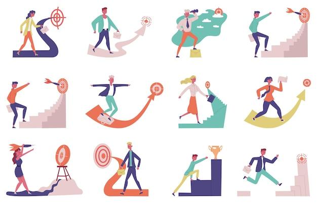 Raggiungimento degli obiettivi aziendali. sviluppo della carriera delle persone di successo, set di illustrazioni vettoriali per la motivazione al rialzo. raggiungi obiettivi maschili e femminili