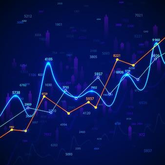 Grafico e diagramma del grafico commerciale. ricerca finanziaria e monitoraggio dei dati. analisi di mercato e statistica di successo. illustrazione