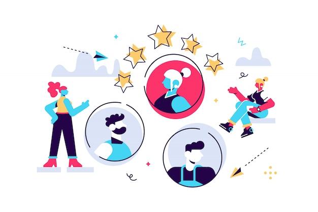 Grafico commerciale, posto vacante aperto, società commerciale è alla ricerca di un dipendente per un lavoro, icone a colori, illustrazioni creative, uomini d'affari stanno prendendo in considerazione un curriculum