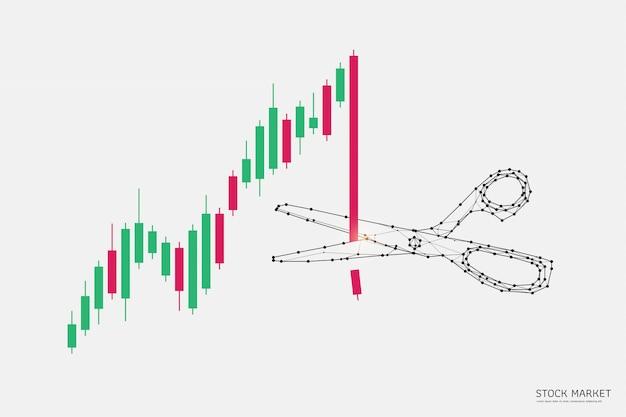 Grafico commerciale con le forbici nello stile poligonale del wireframe