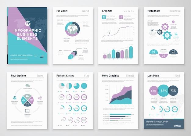Grafica aziendale in stile illustrazione brochure infografica
