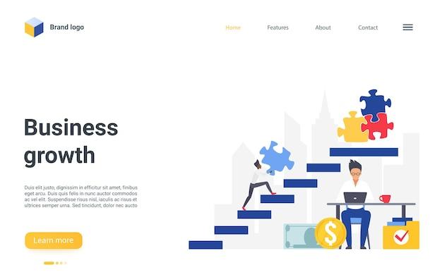 Imprenditore della pagina di atterraggio di concetto di crescita aziendale che sale le scale alte per collegare puzzle