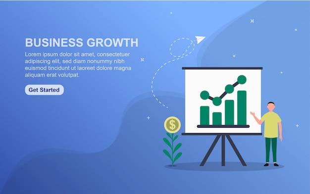 Modello della pagina di atterraggio di concetto di crescita di affari.