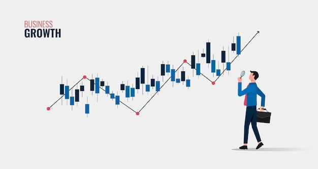 Concetto di crescita aziendale con imprenditore tenendo la lente d'ingrandimento per analizzare l'illustrazione del simbolo del grafico.