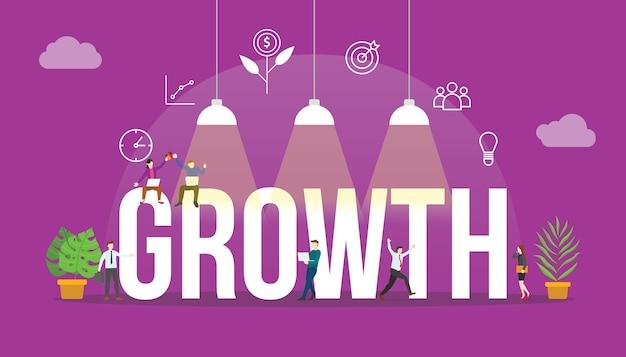 Concetto di crescita aziendale con persone e parola di testo grande e relativa icona