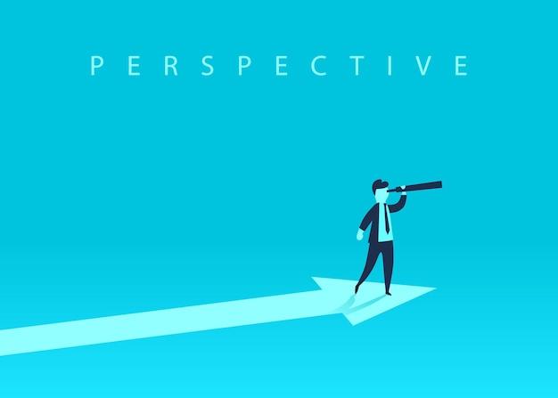 Concetto di crescita aziendale con freccia verso l'alto e un uomo d'affari che guarda avanti attraverso il telescopio