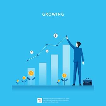 Illustrazione di crescita aziendale per il concetto di investimento intelligente. performance di profitto o reddito, simbolo di ritorno sull'investimento roi