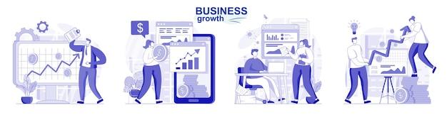 Insieme isolato di crescita del business in design piatto le persone analizzano la strategia di successo dei dati per aumentare il reddito