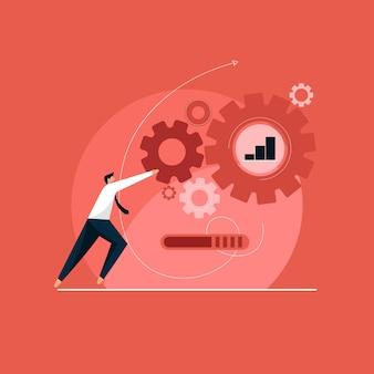 Crescita e progresso aziendale, strategie aziendali digitali, creazione di un piano strategico aziendale, generazione di report. grafico di crescita