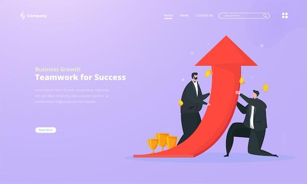 Strategia di crescita aziendale per raggiungere il successo sul concetto di pagina di destinazione